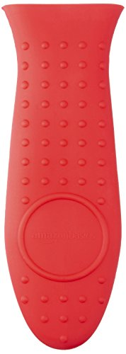 Amazon Basics Silicone Hot Skillet Handle Cover Holder, Red