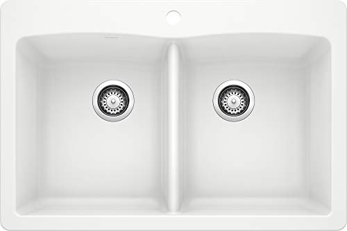 BLANCO 440221 Diamond Silgranit 50/50 Double Bowl Undermount or Drop-In Kitchen Sink, 33' L X 22' W X 9.5' D, White