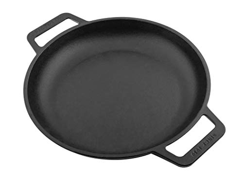 Victoria Cast Iron Round Skillet with Double Loop Handles Seasoned with 100% Kosher Certified Non-GMO Flaxseed Oil, 10 Inch, Black