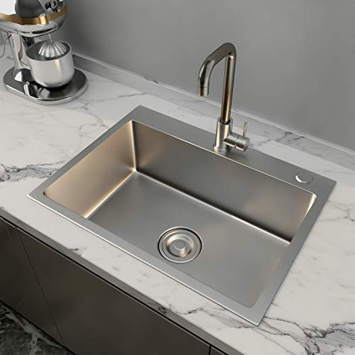 24x18' Stainless Steel Kitchen Sink Include Faucet&Drain 8' Deep Single Bowl,Drop In