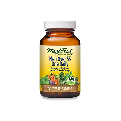 MegaFood, Men Over 55 One Daily, Supports Optimal Health and Wellbeing, Multivitamin and Mineral Dietary Supplement, Vegetarian, 120 Tablets