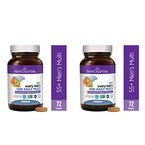 New Chapter Multivitamin for Men 50 Plus - Every Man's One Daily 55+ with Fermented Probiotics + Whole Foods + Astaxanthin + Organic Non-GMO Ingredients -72ct (Packaging May Vary) - 2 Pack