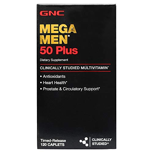 GNC Mega Men 50 Plus Daily Multivitamin for Men, 120 Count, Supports Memory Function, Prostate, and Heart Health