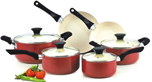 4. Cook N Home NC-00359 Nonstick Ceramic Coating 10-Piece Cookware Set