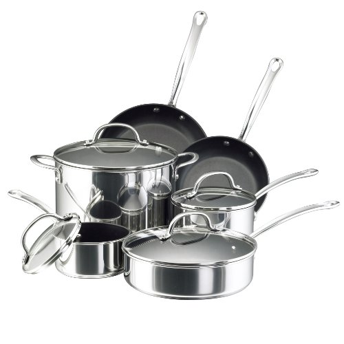 Farberware Millennium Stainless Steel Nonstick Cookware Set, 10-Piece Pot and Pan Set, Stainless Steel