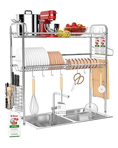 X Home Over The Sink Dish Drying Rack 32 Inch, 2 Tier Above The Sink Dish Drying Rack for Kitchen Counter, with Utensil Holder Cutting Board Holder, Silver