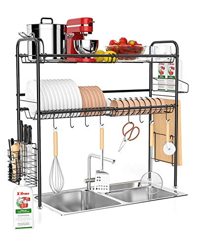 X Home Over The Sink Dish Drying Rack 32 Inch, 2 Tier Above The Sink Dish Drying Rack for Kitchen Counter, with Utensil Holder Cutting Board Holder