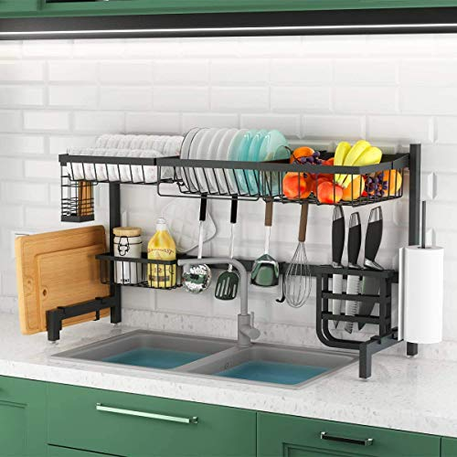 Over The Sink Dish Drying Rack, Adjustable (33.4'-41.3') 2-Tier Stainless Steel Dish Drainer, Large Dish Racks for Kitchen Counter Storage Organizer with Utensil Holder and 10 Utility Hooks