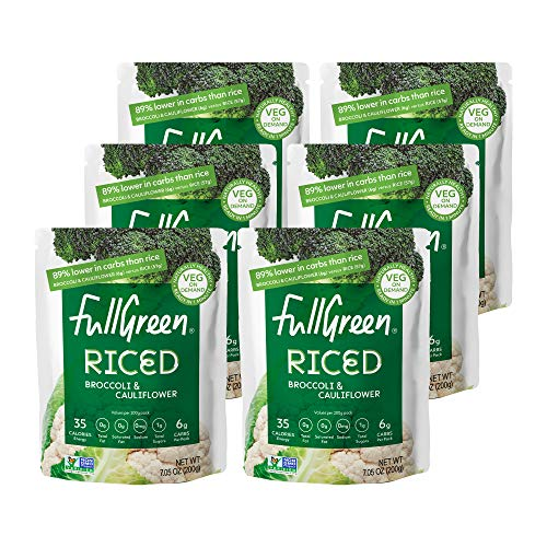 Fullgreen, Riced Broccoli and Cauliflower, 100% Veg, shelf-stable, NO preservatives, Vegan, Keto and 89% lower-carbs than rice! - case of 6 pouches