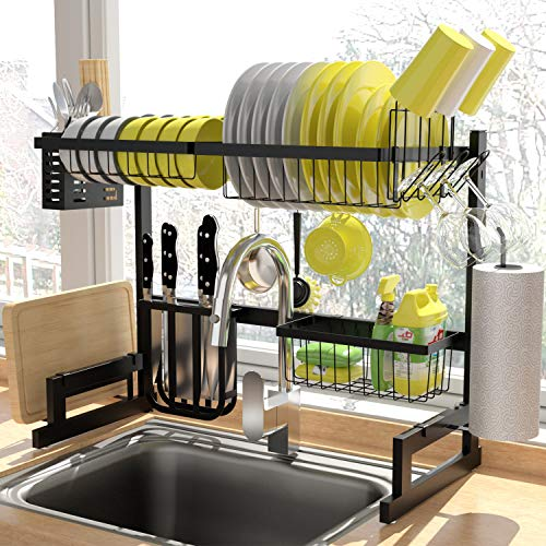 Over The Sink Dish Drying Rack, KINGRACK 2-Tier Dish Rack , Dish Drainer with Utensil Holder&Hooks, Kitchen Storage Organizer for Plates Bowls Pots, Black, for Sink Size  24.8''