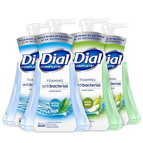 Dial Complete Anti-bacterial Foaming Hand Wash, 60 oz of Foaming Hand Soap. 2-Scent Variety Pack Spring Water/Pear, 15 Fluid Ounces Each (4 pack)