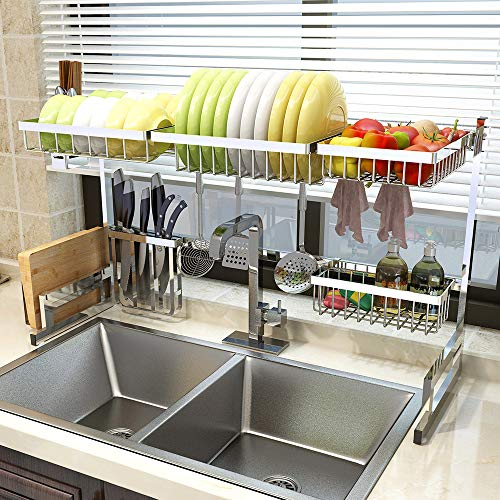 PUDSON Over Sink Dish Drying Rack - 2 Cutlery Holder