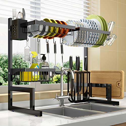 Dish Drying Rack Over Sink Adjustable (25.6'-33.5'),2 Tier Stainless Steel Length Expandable Kitchen Dish Rack,Large Dish Rack Drainer for Kitchen Organizer Storage Space Saver with 10 Utility Hooks