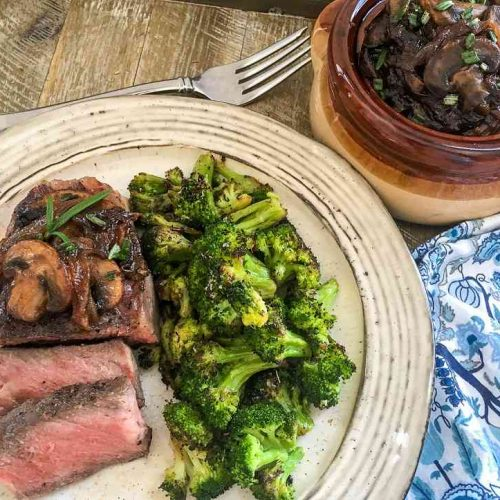 Sous Vide Strip Steak with Caramelized Onions & Mushrooms