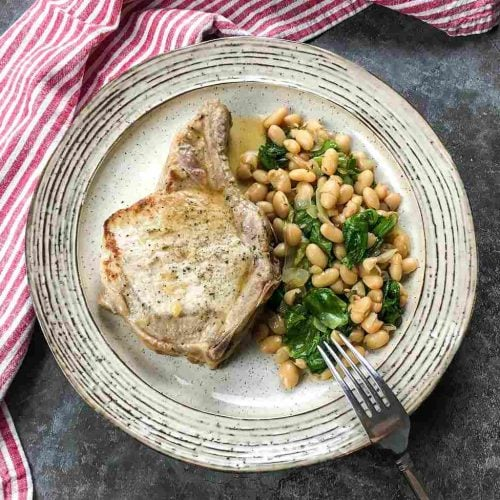 Pork Chops with White Beans And Escarole